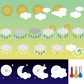 Retro weather icons Royalty Free Stock Photo
