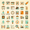 Retro web icon set cartoon vector illustration Royalty Free Stock Image