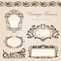 Retro wedding invitation template vintage frames border Stock Images