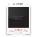 Retro wedding photo frame polaroid. Template for Royalty Free Stock Photo