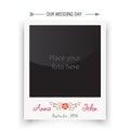 Retro wedding photo frame polaroid. Template for Royalty Free Stock Photo