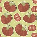 Retro whole tomatoes and slices on polka dots on g with green background vegetable seamless pattern Stock Photography