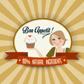 Retro wife illustration with bon appetit message vector format Stock Photo