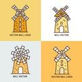 Retro windmill logo set. Wheat bread mill vector icons Royalty Free Stock Photo