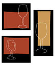 Retro wine glass background set Stock Photo
