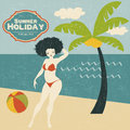 Retro woman on the beach vector illustration Stock Photos