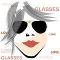 Retro woman with glasses beautiful black sunglasses and red lips in a white background Stock Photos