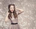Retro Woman Hairstyle, Pin Up Girl Portrait, Elegant Model Royalty Free Stock Photo