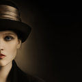 Retro woman half face close up vintage hat portrait elegant fashion style Stock Images