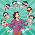 Retro woman juggles the emotions of men Royalty Free Stock Photo