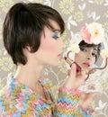 Retro woman mirror lipstick makeup tacky Stock Image