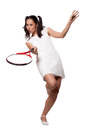 Retro woman with a tennis racket in white dress playing isolated on white background Royalty Free Stock Image