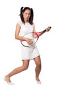 Retro woman with a tennis racket in white dress used as guitar isolated on white background Royalty Free Stock Image