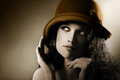 Retro woman vintage portrait in hat elegant fashion model Stock Images