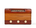 Retro wood case vacuum tube radio vintage on white background Stock Photos