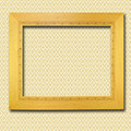 Retro wooden frame on wall Royalty Free Stock Image