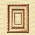 Retro wooden frame on wall Stock Image