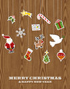 Retro wooden hanging Christmas set Royalty Free Stock Image