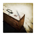 Retro wooden suitcase vintage brown tinted Royalty Free Stock Photography