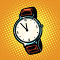 Retro wrist watch with leather strap Royalty Free Stock Photo