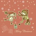 Retro xmas card with children playing Royalty Free Stock Images