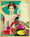 Retro young woman with fashion accessories on old paper texture poster Royalty Free Stock Photo