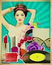 Retro young woman with fashion accessories on old poster texture Stock Images