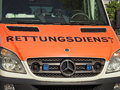 Rettungsdienst tight crop on a german ambulance for your emergency copy Stock Photography
