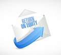 Return on equity mail sign concept illustration design over a white background Stock Photos