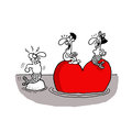 Return of husband vectorel conceptual humorous cartoon about valentines day and love Stock Image