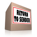 Return to sender cardboard box unwanted package the words on a label for a or being sent back the original mailer since the item Royalty Free Stock Image