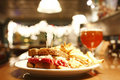 Reuben sandwich and a belgian beer Royalty Free Stock Photos