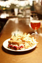 Reuben sandwich and a belgian beer Stock Image
