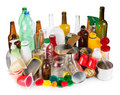 Reusable wastes segregated metal plastic and glass Stock Photos