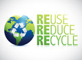 Reuse reduce recycle globe illustration design over a white background Royalty Free Stock Photos