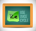 Reuse reduce recycle illustration design over a chalkboard Royalty Free Stock Photo