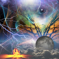 Revealing god nature elements with overseeing eye Stock Photography
