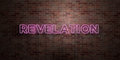 REVELATION - fluorescent Neon tube Sign on brickwork - Front view - 3D rendered royalty free stock picture