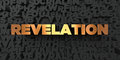 Revelation - Gold text on black background - 3D rendered royalty free stock picture