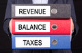 Revenue balance and taxes Royalty Free Stock Photo