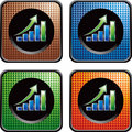 Revenue growth chart on checkered web buttons Royalty Free Stock Images
