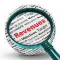 Revenues Magnifier Definitions Shows Financial Growth Or Improve Royalty Free Stock Photo