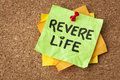 Revere life on a sticky note motivational reminder green Stock Photography