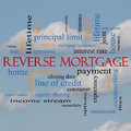 Reverse mortgage word cloud concept on a cloud background with great terms such as payment equity quote fees and more Stock Image