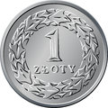 Reverse polish money one zloty coin vector silver with value and wreath of leaves Stock Photography