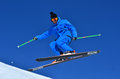 Reverse verbier switzerland february freestyle skier performing a jump february in verbier switzerland Royalty Free Stock Photos