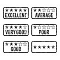 Review rating rubber stamps vector illustration of stamp design elements Royalty Free Stock Photos