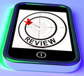 Review smartphone shows feedback evaluation showing and assessment Stock Photography