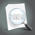Reviewing background check report magnifying glass Stock Image