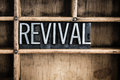 Revival concept metal letterpress word in drawer the written vintage type a wooden with dividers Stock Image